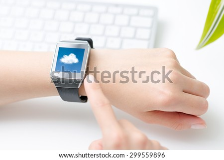 Cloud computing technology with smart watch. Smartwatch concept.