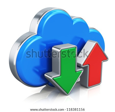 Cloud computing telecommunication HDD service concept: blue metal cloud icon with green download and red upload arrows isolated on white background with reflection effect - stock photo