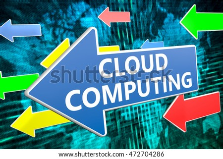 Cloud Computing - text concept on blue arrow flying over green world map background. 3D render illustration.