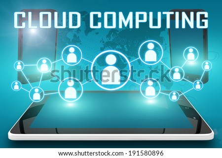 Cloud Computing - text illustration with social icons and tablet computer and mobile cellphones on cyan digital world map background - stock photo