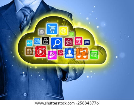 Cloud computing touchscreen interface - stock photo