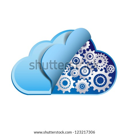 Cloud computing with metal gears - stock photo