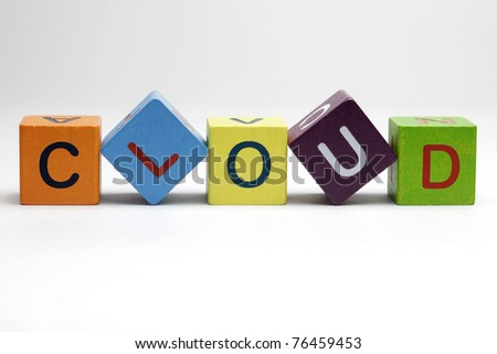 Cloud computing, wooden blocks on white background - stock photo