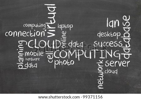 Cloud Computing words on blackboard