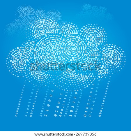 Cloud consisting of binary. . CMYK. Organized by layers. Global colors. Gradients used. - stock photo