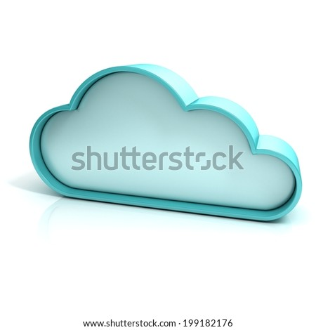 Cloud 3d computer icon isolated - stock photo
