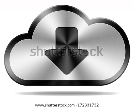 cloud data download icon downloading file document photo music or video on cloud  storage database as a backup service - stock photo