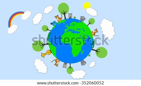 Cloud earth nature cartoon design and animals