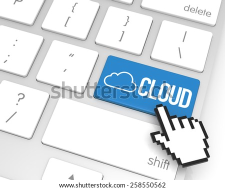 Cloud enter key with hand cursor. 3D rendering