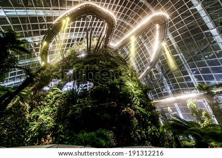 Cloud Forest Dome at Gardens by the Bay  - stock photo