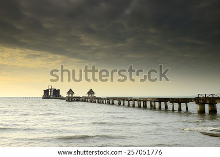 Cloud formation at the bridge in the landscape. - stock photo