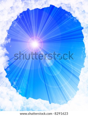 Cloud frame with sunlight