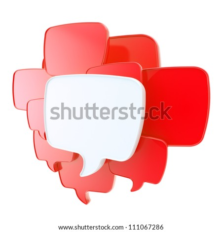 Cloud group of red speech text bubbles composition as copyspace banner plate isolated on white