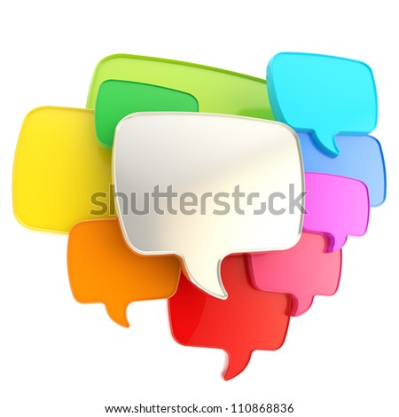 Cloud group of speech text bubbles composition chrome metal and colorful rainbow colored plastic as copyspace banner plate isolated on white