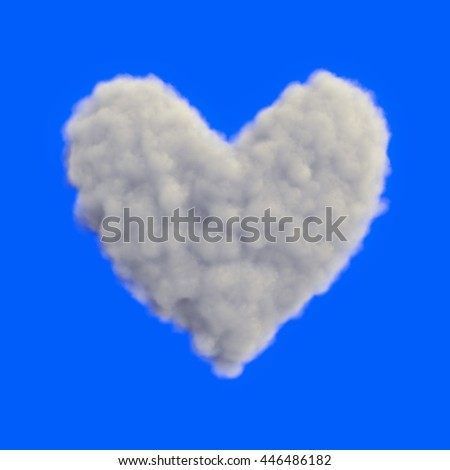 Cloud heart and blue sky. 3D rendering, 3D illustration. - stock photo