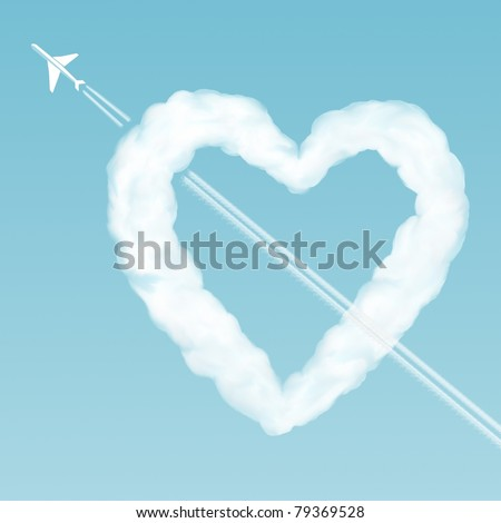 Cloud-heart pierced by an airplane in the sky - stock photo