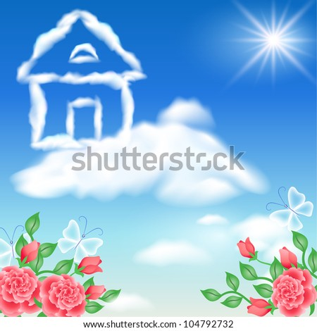 Cloud house in the sky and roses. Raster version of vector - stock photo