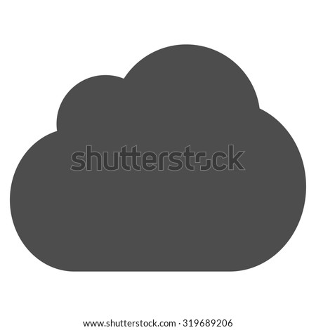 Cloud icon from Primitive Set. This isolated flat symbol is drawn with gray color on a white background, angles are rounded.