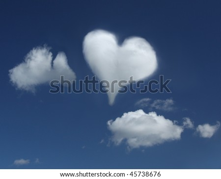 Cloud in a shape of a heart - stock photo