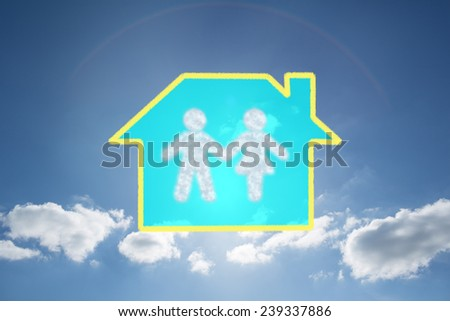 Cloud in shape of couple against cloudy sky with sunshine