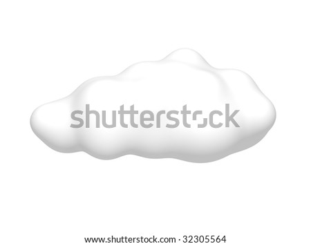 Cloud isolated on white. 3d rendered illustration. - stock photo