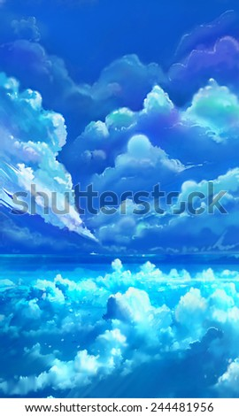 Cloud Lake - Illustration for children - stock photo