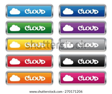 Cloud metallic rectangular buttons - stock photo