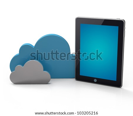 Cloud network and the digital tablet pc. Conceptual image. - stock photo