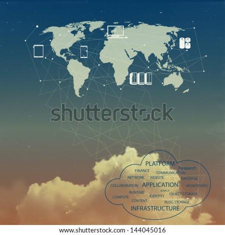 cloud network idea as vintage concept - stock photo