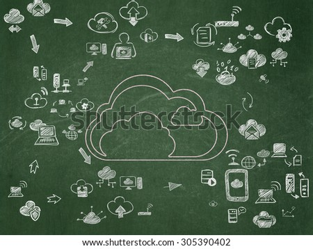 Cloud networking concept: Chalk Pink Cloud icon on School Board background with Scheme Of Hand Drawn Cloud Technology Icons, 3d render - stock photo