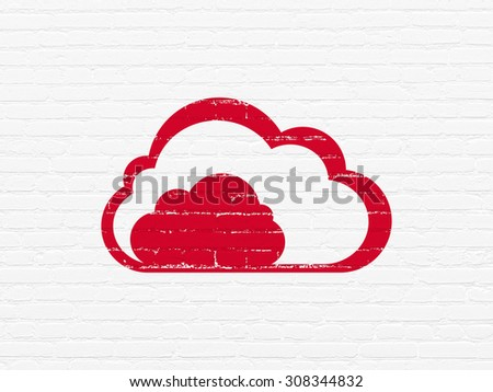 Cloud networking concept: Cloud on wall background - stock photo