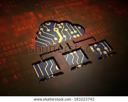 Cloud networking concept: digital screen with icon Cloud Network, 3d render - stock photo