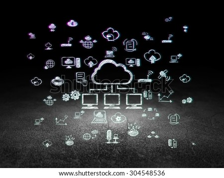 Cloud networking concept: Glowing Cloud Network icon in grunge dark room with Dirty Floor, black background with  Hand Drawn Cloud Technology Icons, 3d render