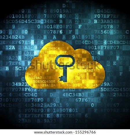 Cloud networking concept: pixelated Cloud With Key icon on digital background, 3d render - stock photo