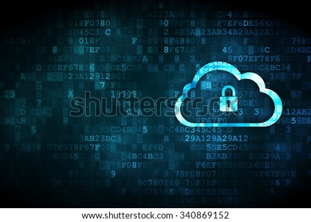 Cloud networking concept: pixelated Cloud With Padlock icon on digital background, empty copyspace for card, text, advertising - stock photo