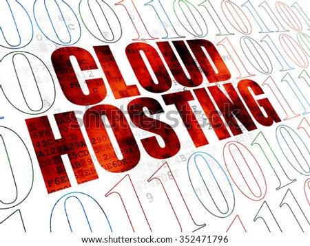 Cloud networking concept: Pixelated red text Cloud Hosting on Digital wall background with Binary Code