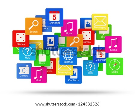 Cloud of Application Icons isolated on white background