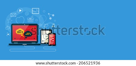 Cloud of application icons. Social media concept. Banner with social media item icons. Raster version - stock photo