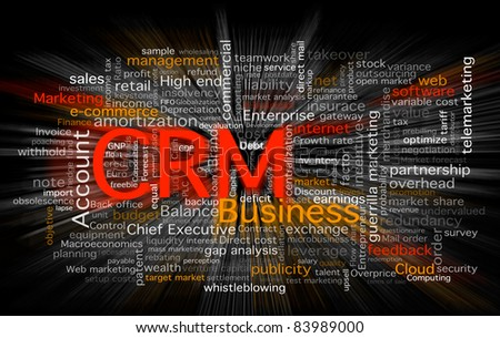 Cloud of business words centered in the CRM software concept. Background in black with a zoom blur over the words. - stock photo