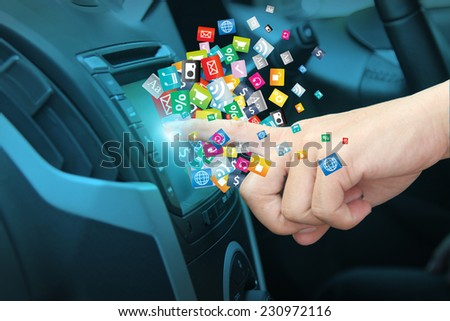 Cloud of colorful application icon social media networking transportation and vehicle concept idea - stock photo
