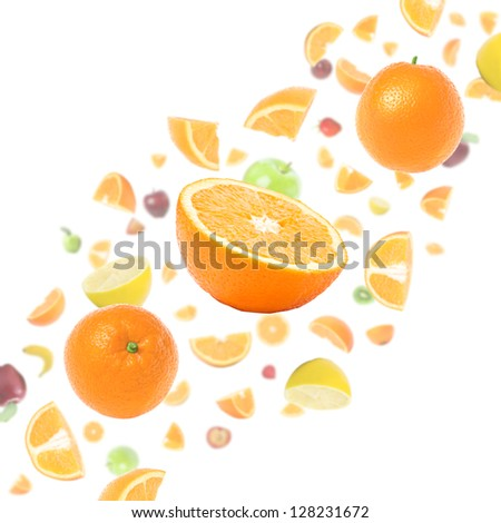 Cloud of many flying fruits on white background with oranges in foreground