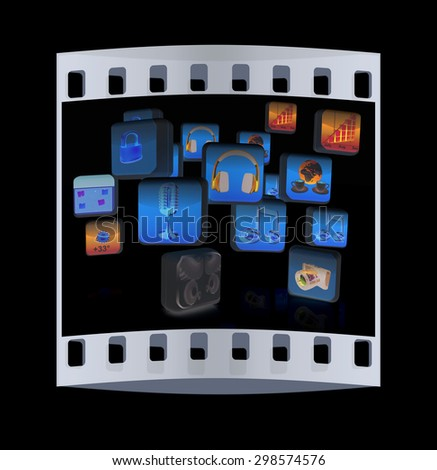 Cloud of media application Icons on a black background. The film strip