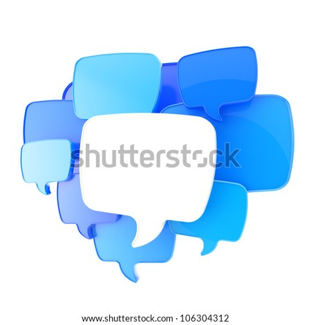 Cloud of text bubbles, blue and white, grouped as copyspace empty plate glossy banner background isolated on white - stock photo