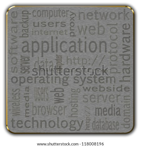 Cloud of words describing selected issues associated with computer technology presented in the form of a button