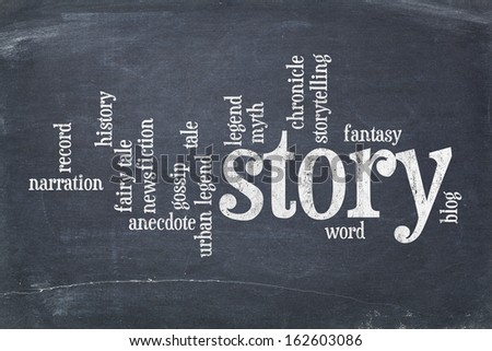 cloud of words related to story, legend and myth on an old slate blackboard with scratches and white chalk smudges - stock photo