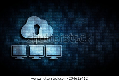 cloud server connected with several clients - stock photo