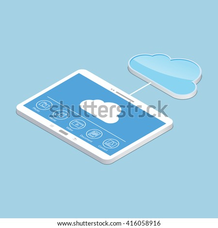 Cloud service. Concept design of tablet storage files. Isometric illustration. - stock photo