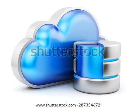 Cloud service concept, remote data storage icon isolated on white - stock photo