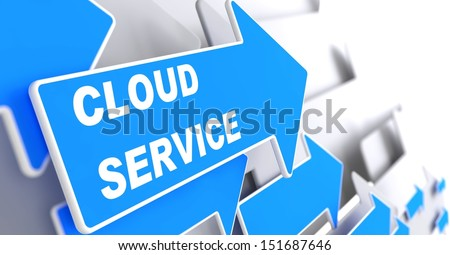 "Cloud Service.  Internet Concept. Blue Arrow with ""Cloud Service"" slogan on a grey background. 3D Render."