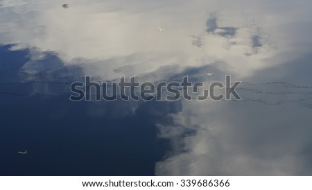 Cloud shadows on water surface